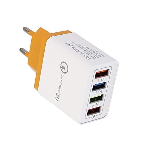 Posional 4 Puertos USB Colorido Cargador 3A Cabezal de Carga de Viaje...