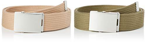 Marca Amazon - find. Cinturón de Tela Hombre, Pack de 2, Multicolor (caqui/bronceado)., L, Label: L