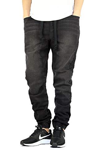 AIRNINE Men's Premium Twill Drop Crotch Jogger Pants S-5XL (Denim_Black, X-Large)