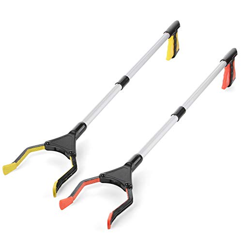 Rirether 32quot Reacher Grabber Tool for Mobility Aid Reach Any Place Without Bending Over Ergonomic Handle Durable Aluminum Alloy Foldable Lightweight Long Reach Grabber Orange/Yellow 2 Pack