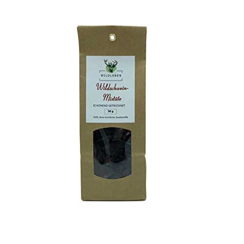 Wildleben Wildschwein-Mixtüte, natürliche Leckerlies für Hunde, Dörrfleisch, 100% Wildschwein ohne Zusatzstoffe, 50g