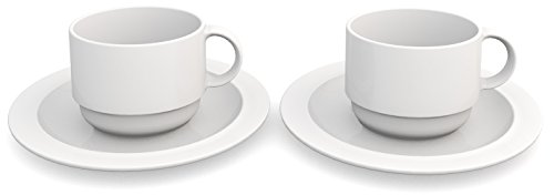 Ornamin Kaffeetassen 150 ml mit Untertassen 2er-Set (Modell 501 + 502) / Mehrweg-Becher Kunststoff, Kaffeetasse, Teetasse Set