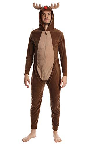 SLEEPHERO Adult Men's Tacky Halloween Costume Fleece Pajama Jammies Onesie Onsie Reindeer XL