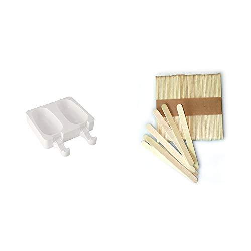 Silikomart GEL01 Kit de 2 moldes de silicona para helados, forma clásica, color blanco + Kit de 100 palitos de madera 72 x 8 x 2 mm