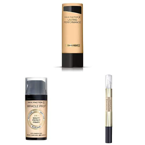 Max Factor Lasting Performance Foundation Natural Beige 106, Langanhaltendes Flüssig Make-Up + Miracle Prep 3in1 Beauty Protect Primer + Mastertouch Concealer Ivory 303, Flüssige Grundierung