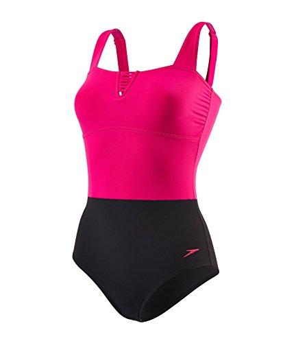 Speedo Lunadream Costume da Bagno Intero, Donna, Multicolore (Electric Pink/Black), IT: 42 (Taglia Produttore: 32)