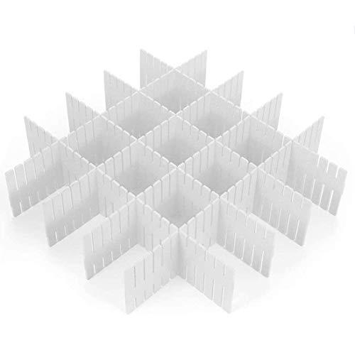 Killow Separadores de Cajones, Set de12 DIY Divisores de Cajones de Rejilla Ajustables, Ajustable Organizador de Cajones Separador de Armario de Plástico DIY Contenedor Organizador Ordenado (Blanco)