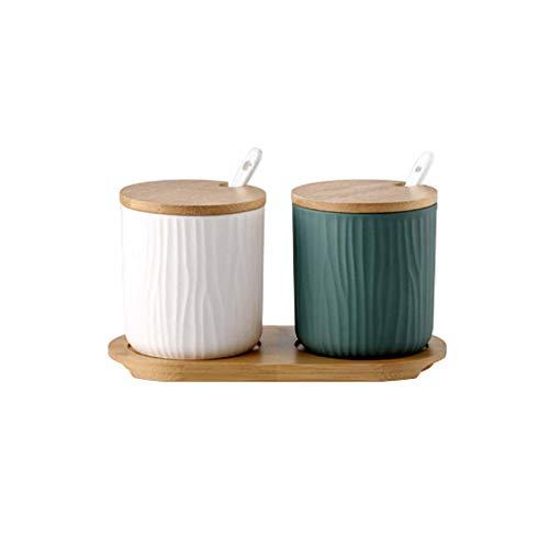 Tarros de Especias de cerámica 2 recipientes de Almacenamiento de Especias con Tapas y Cuchara Caja de Especias de 300 ml con Estante de Especias de Madera Herramientas (Blanco y Verde)