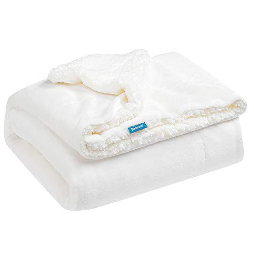Bedsure Sherpa Fleece Baby Blankets Unisex for Boys Girls Kids Toddler Infant Newborn 30x40 inches White  Fuzzy Warm Cozy Soft Blanket Plush Microfiber Blanket for Crib Stroller Nap