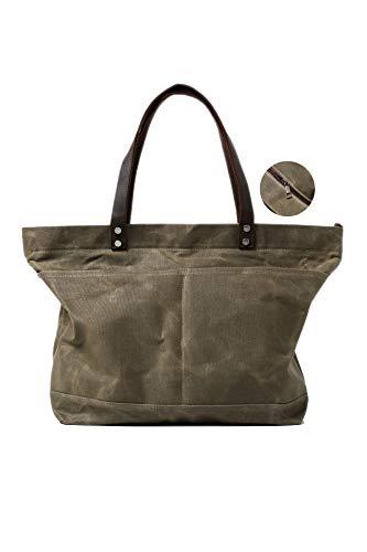 Jeelow Waxed Canvas Shoulder Tote Bag Travel Weekender Oversize Handbags For Men & Women Genuine Leather Handles With Zipper Water Repellent