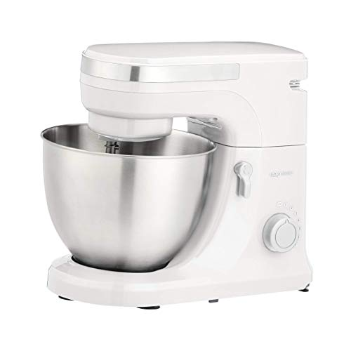 Amazon Basics Multi-Speed Stand Mixer with Attachments, White
