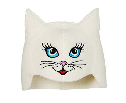 Natural Textile Saunahut 'Sauna Kitten Cat' White - 100% organische Wollfilzmützen - Schützen Sie Ihren Kopf vor Hitze - Englische Sauna E-Book Handbuch inklusiv - mit Stickerei