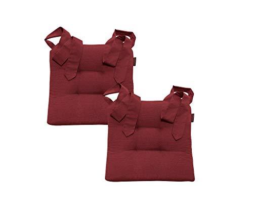 Stuhlkissen Sitzkissen Schleifenband Auflage Polster Stuhl Stuhlauflage Rattanstühle extra dick Esszimmerstühle 2er Set (Magma_rot_050)