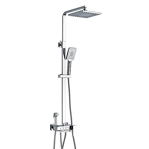 kisimixer Duschsystem, Duschset für Badezimmer Dusche, Regenduschset Duschstange 84-140 cm, Brauseset Duschsäule mit Regendusche, Brausegarnitur mit 4 Funktion,Messing Chrom