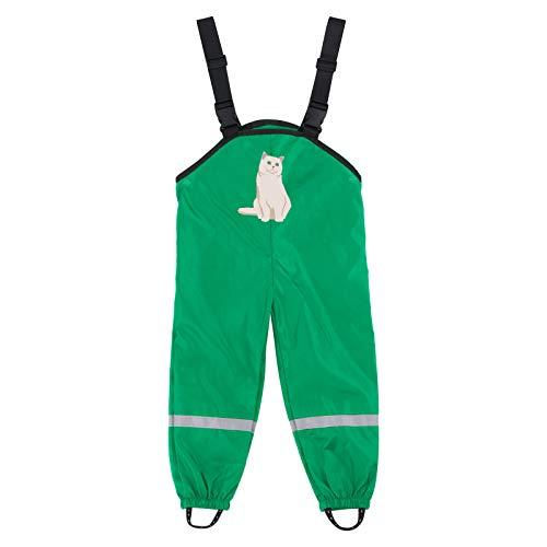 yazidan Pantalones de lluvia para niños, unisex, peto de lluvia para niñas, jóvenes, resistentes al viento e impermeables, transpirables, para cubrir los pantalones de esquí 03#-verde 128