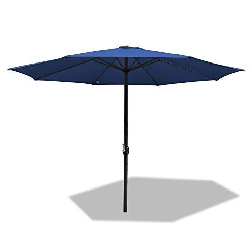 Hengda 300 cm Ombrellone Parasole Protezione Solare UV30+ Struttura in Acciaio con manovella 38 mm Parasole da Esterno Ombrello da Spiaggia Bar Giardino Mare Piscina-Blu