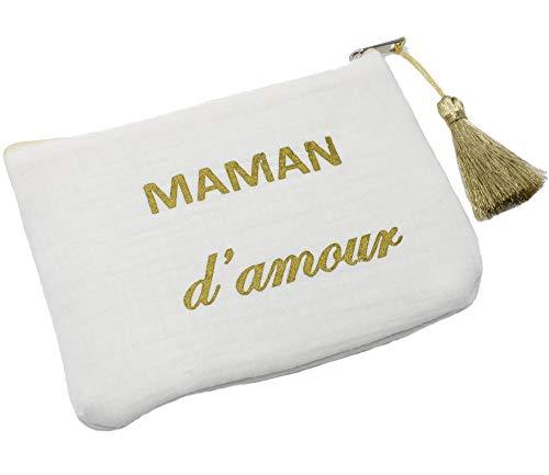 Oh My Shop ATM130 - Trousse Pochette Coton Blanc Message Maman d'Amour Pompon Doré