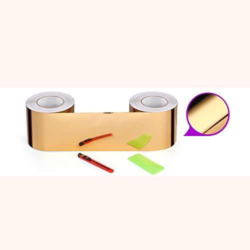 Papel pintado impermeable espejo dorado adhesivo adhesivo removible cenefa decorativa para cocina, baño, salón, azulejos 12 x 500 cm