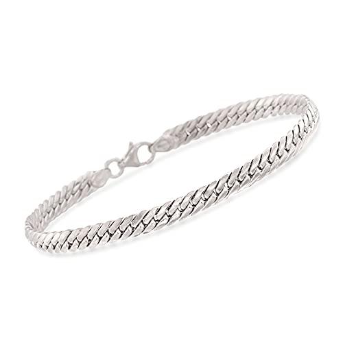 Ross-Simons Italian 14kt White Gold Cuban-Link Bracelet. 7 inches