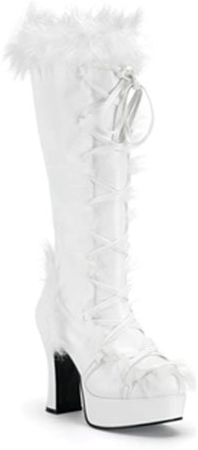 Chunky High Heel White Furry Lace Up Fur Boot