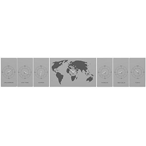 CalleaDesign - Wanduhr Cosmos Büro mit Zeitzonen - Aluminium