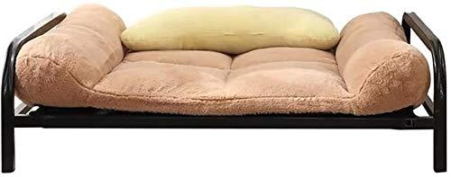 UIZSDIUZ Haustierbett Hundebett Durable mit Matratze, Hund Welpen Erhöhte Raised Kinderbett Tragbare Camping Basket Katzenbett (Color : Khaki, Size : XL(122×91×32cm))
