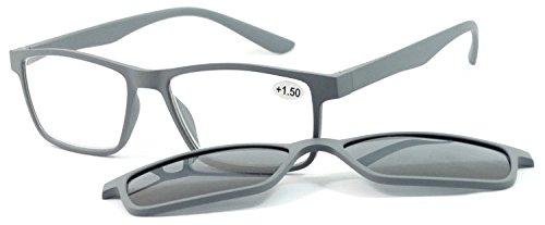 Pachleitner Premium Clip-Lesehilfe mit Sonnenschutzclip und Federscharnier inklusive Etui, grau / +1.5 Dioptrien,