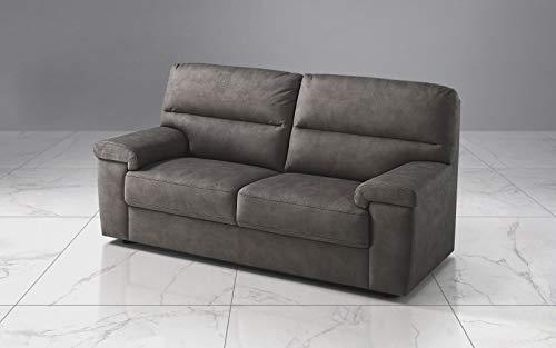 Dafne Italian Design Sofá de 3 plazas. Piel sintética efecto nobuck granit gris (186 x 95 x 96 cm)