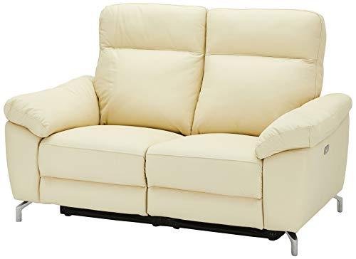 Ibbe Design Creme Leder 2er Sitzer Relaxsofa Couch mit Elektrisch Verstellbar Relaxfunktion Heimkino Sofa Doha mit Fussteil, Federkern, 162x96x101 cm