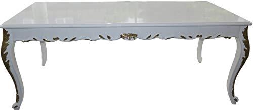 Casa Padrino Barock Esstisch Weiß Hochglanz/Gold - Esszimmer Tisch - alle Grössen, Tisch Abmessungen:100 x 100 cm x H 82 cm