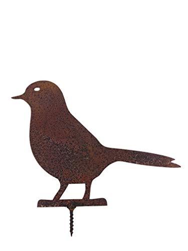 ecosoul Décoration de jardin Oiseau colombe avec vis à fixer - Animal de jardin en métal rouillé - Décoration de Pâques