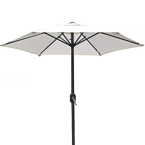 6 Feet Patio Umbrella Outdoor Table Umbrella with 6 Sturdy Ribs, Perfect for Patio/Garden/Yard/Pool, Crank Design (Color : White)