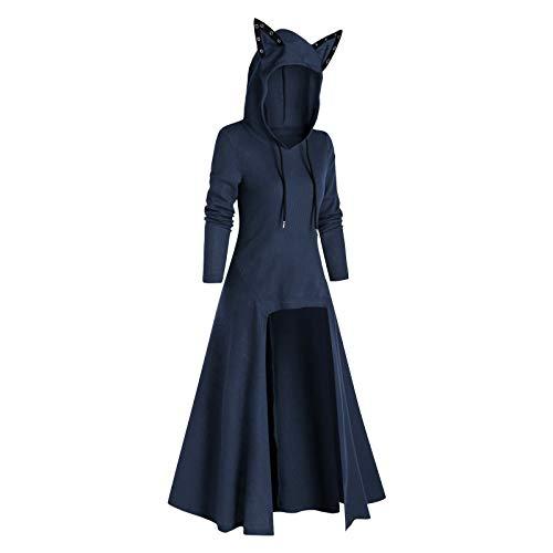 KEERADS - Vestido gtico largo para mujer, estilo retro, Halloween, cosplay, renacentista, fiesta, disfraz, largo, Halloween, vampiro, disfraz largo azul M