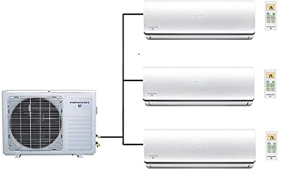 Thermocore T322D-H236-12000 x 3 36000 BTU Tri Zone Ductless Mini Split Air Conditioner Heat Pump, Large, White