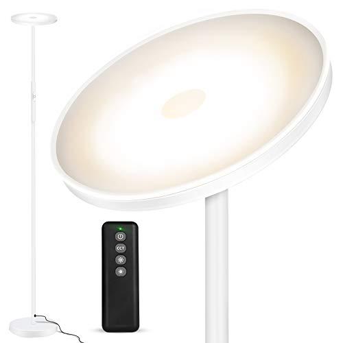 Lámpara de Pie OUTON, 30 W/2400 lm, Moderna Lámpara de Pie LED, regulable sin niveles, con 3 Temperaturas de Color, Control Remoto y táctil para Salón, Dormitorio, Oficina, Blanco