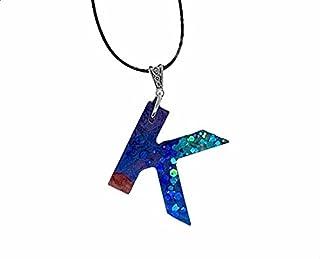 AGA Letter-K Resin Pendant Necklace - Blue