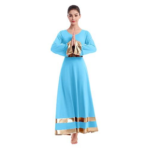 IBAKOM Vestido de mujer lirio, cuello redondo, manga larga, elogio, vestido de danza liturca, visión de cuerpo entero, disfraz de ballet, túnica de oración y columpio azul L