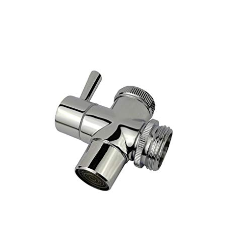 """All Brass Faucet Diverter Valve with Aerator, Sink to Garden Hose Diverter Faucet Adapter, for Bathroom/Kitchen Sink Faucet Connection Portable Washing Machine/Dishwasher (G1/23/4"""", Chrome)"""