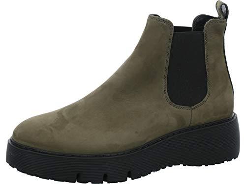 Paul Green Damen Chelsea-Boots, Frauen Stiefeletten, Bootie Schlupfstiefel flach weiblich Lady Ladies feminin elegant Women's,Grün,5 UK / 38 EU