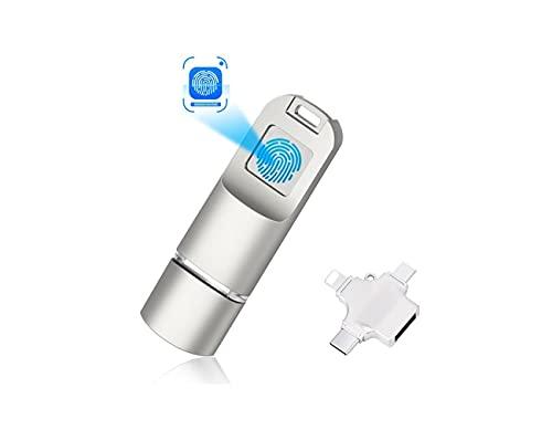 TANSHUOKJ Encrypted USB Drive 64G Fingerprint Flash Drive Metal Thumb Drive Memory Stick Pen Zip Drive USB3.0 High-Speed Secret Dual Storage Security Protection for PC Smartphone Laptop.