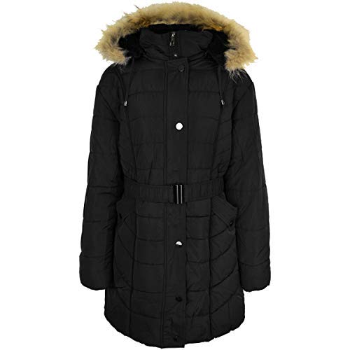 a91c686944b9 Fashion Thirsty Ladies Womens Plus Size Fur Hooded Winter Coat Quilted  Padded Puffa Parka Jacket
