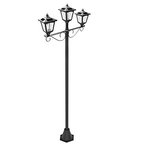 Upgrade Solar Powered 72' Triple-Head Street Vintage Outdoor Garden Solar Lamp Post Light Lawn