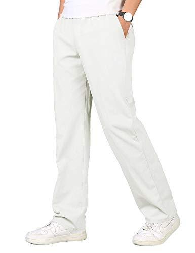 COOFANDY Leinenhose Herren Lang Stretch mit Elastischem Kordelzug Große Tasche Leichte Casual Bequem locker Freizeithose für Männer Weiß L