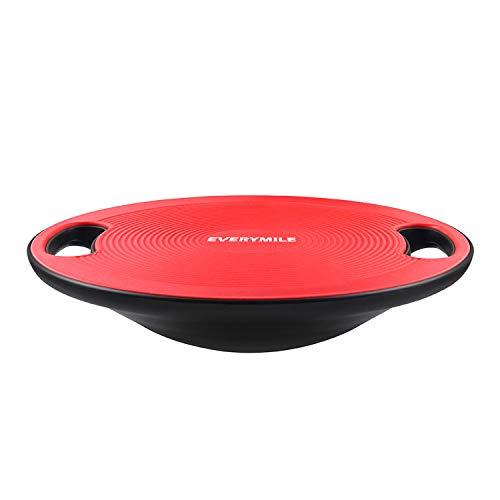 バランスボード ダイエット 体幹トレーニング用 EVERYMILE 滑り止め 直径40cm 運動不足 エクササイズ 持ち運びやすい コアマッスル 丸形 運動 健康 リハビリ ケガ予防 (赤)