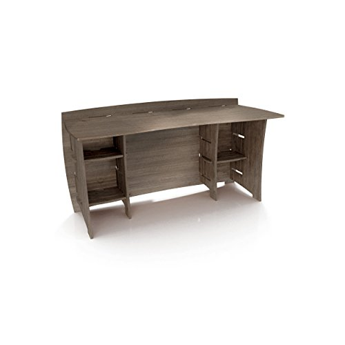Legaré Furniture Straight Office Desk, Home Computer Desk, No Tool Assembly with Adjustable Shelves, 60', Grey Driftwood