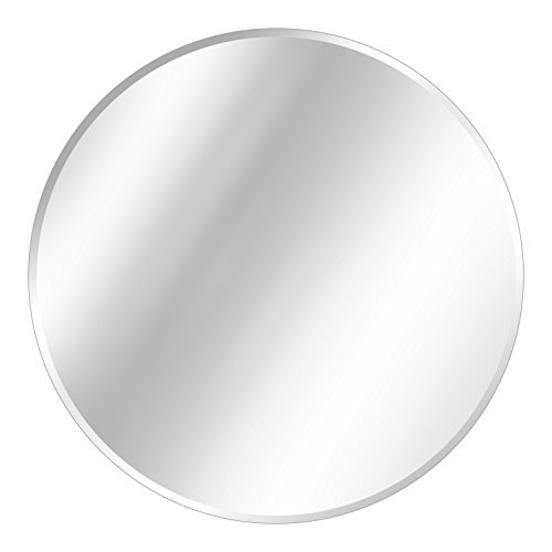 Fab Glass and Mirror 30' Inch Round Beveled Polished Hooks Frameless Wall...