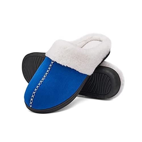 Men's Women's Memory Foam House Slippers Fuzzy Plush Lining Comfy Slip On Bedroom Shoes for Indoor & Outdoor Dark-Blue 46-47
