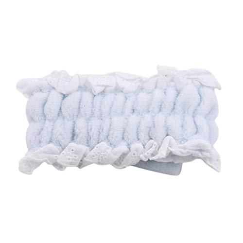 FEITeng Bowknot Headband, Bandes de Cheveux en Molleton élastique en Dentelle pour la Douche cosmétique faciale Yoga Sports,Bleu Ciel