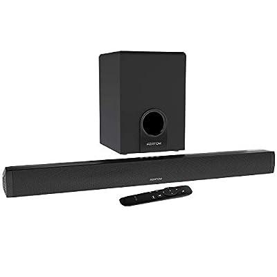 AZATOM Studio Cinemax 2.1 Soundbar and Subwoofer, 120W, 3D Surround Sound, Stream Wireless Bluetooth, Remote Control, Wall Mountable, Optical compatible (Renewed) from Azatom®