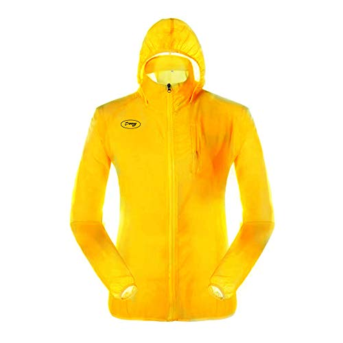 Dooy Cycling Jacket, Sun Protection Running Bike Clothing, Outdoor Sports Coat (Yellow, L)